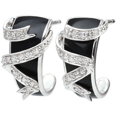 Boucles d'oreille or blanc Clair Obscur - Ruban d'étoiles - diamants et laque noire