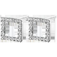 Boucles d'Oreilles Abondance - Cadre enchanté - or blanc 9 carats et diamants