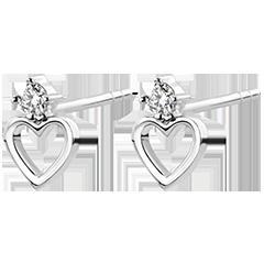 Boucles d'Oreilles Abondance - Coeur Anahata - or blanc 9 carats et diamants