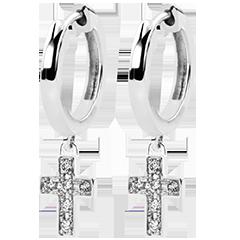Boucles d'oreilles Abondance - Croix Diamantée - or blanc 9 carats et diamants