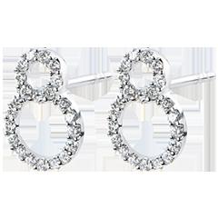 Boucles d'Oreilles Abondance - Infini- or blanc 9 carats et diamants