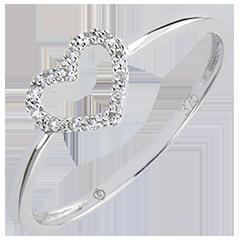 Boucles d'Oreilles Abondance - Petit Cœur - or blanc 9 carats et diamants