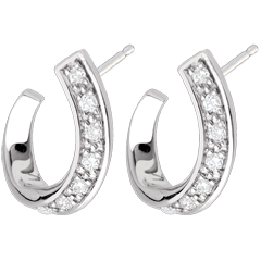 Boucles d'oreilles accroche-coeur - or blanc 18 carats