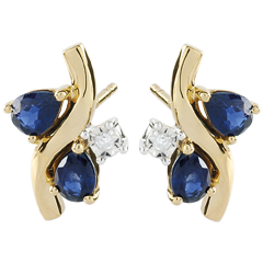 Boucles d'oreilles Algoma - saphirs et diamants - or jaune 9 carats