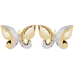 Boucles d'oreilles Balade Imaginaire - Papillon Cascade - or jaune et diamants
