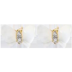 Boucles d'oreilles Balade Imaginaire - Papillons de nacre - nacre et diamants