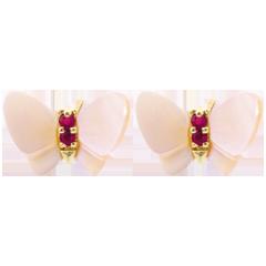 Boucles d'oreilles Balade Imaginaire - Papillons de nacre or jaune - nacre et rubis