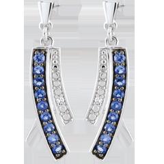 Boucles d'oreilles Blina - saphirs - or blanc 9 carats