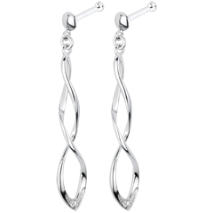 Boucles d'oreilles Carnaval or blanc et diamants