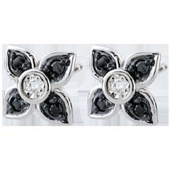 Boucles d'oreilles Clair Obscur - Lys noir - diamants noirs - or blanc 9 carats