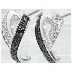 Boucles d'oreilles Clair Obscur - Mouvement - or blanc diamants, blancs et diamants noirs