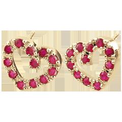 Boucles d'oreilles Coeur en fête - Rubis - or jaune 9 carats