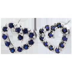 Boucles d'oreilles Coeur en fête - Saphirs - or blanc 9 carats