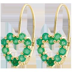 Boucles d'oreilles Coeur Rosie - émeraudes - or jaune 9 carats