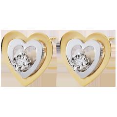 Boucles d'oreilles Coeurs Boudoir - deux ors - or blanc et or jaune 9 carats