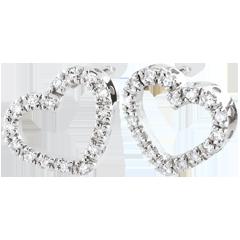 Boucles d'oreilles Coeurs Zadig or blanc 9 carats