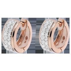 Boucles d'oreilles Constellation - Astrale - petit modèle - 32 diamants 0.22 carat - or blanc et or rose 18 carats