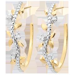 Boucles d'oreilles créoles Jardin Enchanté - Feuillage Royal - or jaune et diamants - 9 carats