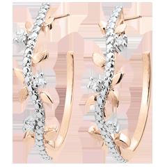 Boucles d'oreilles créoles Jardin Enchanté - Feuillage Royal - or rose et diamants - 18 carats