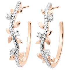 Boucles d'oreilles créoles Jardin Enchanté - Feuillage Royal - or rose et diamants - 9 carats