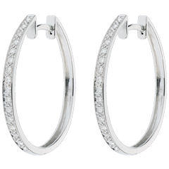 Boucles d'oreilles Créoles or blanc Anneaux de Vénus