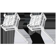 Boucles d'oreilles damier or blanc 18 carats pavées - 0.34 carats