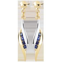 Boucles d'oreilles Daniella - saphirs - or blanc et or jaune 9 carats