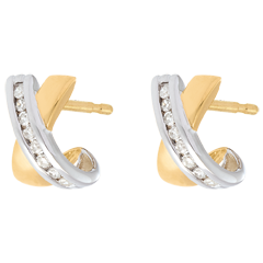 Boucles d'oreilles demi lunes - Or jaune - Or Blanc - 16 diamants