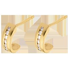 boucles d'oreilles demi-lunes pavées - or jaune - 12 diamants