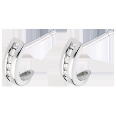 Boucles d'oreilles demie lune pavée or blanc - 12 diamants