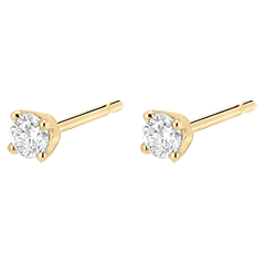 Boucles d'oreilles diamants - puces or jaune 18 carats - 0.25 carat