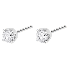 Boucles d'oreilles diamants (TGM+) - puces or blanc 18 carats - 0.5 carat