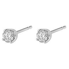 Boucles d'oreilles diamants (TGM) - puces or blanc 18 carats - 0.4 carat