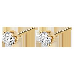 Boucles d'oreilles diamants (TGM+) - puces or jaune 18 carats - 0.5 carat