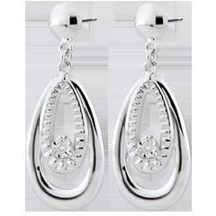 Boucles d'oreilles Doria - or blanc 9 carats