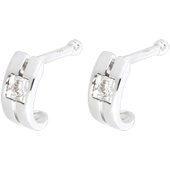 Boucles d'oreilles Double rang or blanc 18 carats et diamants