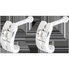 Boucles d'oreilles Double rang or blanc et diamants