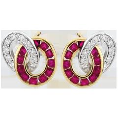 Boucles d'oreilles Duorama - rubis et diamants - or blanc et or jaune 9 carats
