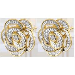 Boucles d'oreilles Éclosion - Rose Dentelle - or blanc, or jaune 9 carats et diamants