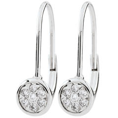 Boucles d'oreilles Elga dormeuses - or blanc 9 carats