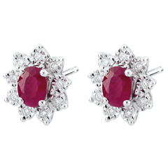 Boucles d'oreilles Eternel Edelweiss - Marguerite Illusion - rubis et diamants - or blanc 18 carats