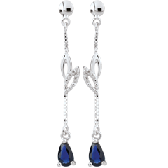 Boucles d'oreilles Evina - or blanc 18 carats et saphirs