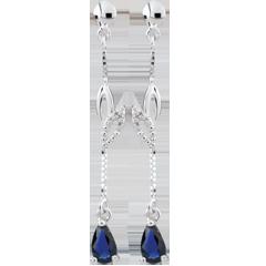 Boucles d'oreilles Evina - or blanc 9 carats et saphirs
