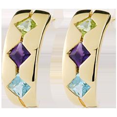 Boucles d'oreilles Fantasine - topaze, améthyste, péridot - or jaune 9 carats