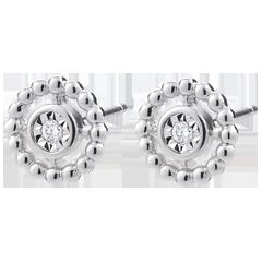 Boucles d'oreilles Fleur de Sel - Cercle - or blanc