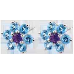 Boucles d'oreilles Fleurs des neiges - or blanc 9 carats