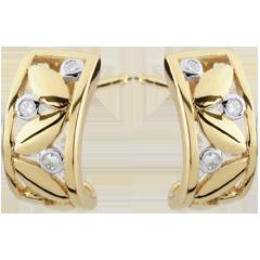 Boucles d'oreilles Fraicheur - Créoles Feuillage - or jaune - 9 carats