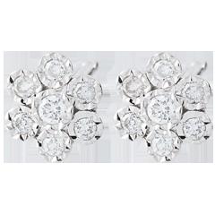 Boucles d'oreilles Fraicheur - Fleur de Flocon variation - or blanc 9 carats