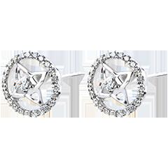 Boucles d'Oreilles Fraicheur - or blanc 9 carats et diamants