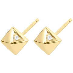 Boucles d'oreilles Genèse - Diamants bruts - or jaune 9 carats